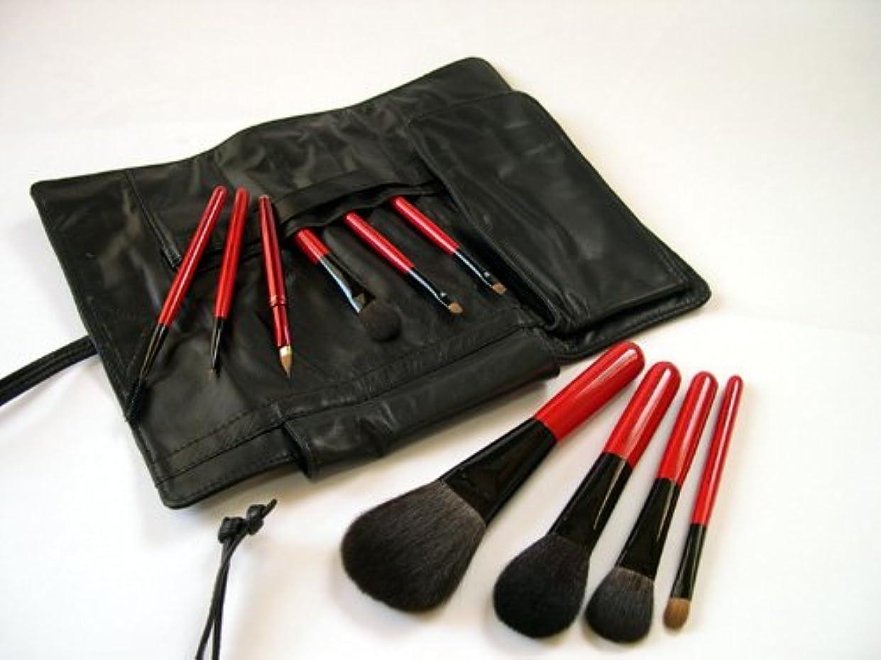 吐き出す不倫器用竹田ブラシ製作所 赤椿(赤塗木軸)化粧筆10本フルブラシセット