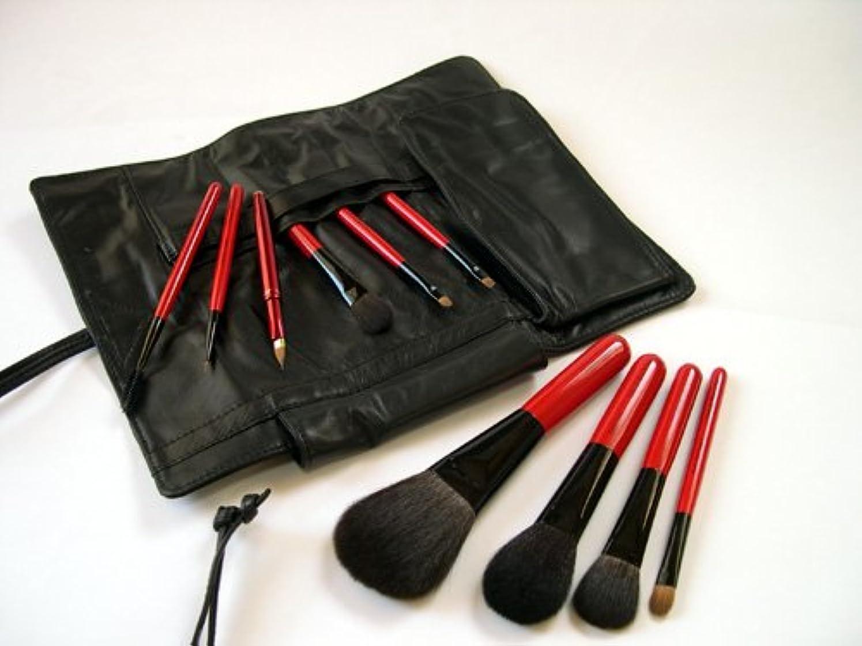 ひばりきらきらシニス竹田ブラシ製作所 赤椿(赤塗木軸)化粧筆10本フルブラシセット