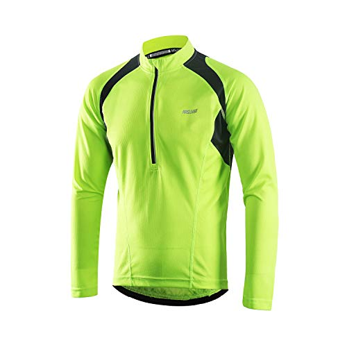 ARSUXEO Herren Hälfte Reißverschluss Radfahren Trikots Lange Ärmel MTB Fahrrad Hemden 6031 Grün L