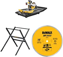 DEWALT D24000 1.5-Horsepower 10-Inch Wet Tile Saw with 10-Inch Wet Cutting Continuous Rim Saw Blade with 5/8-Inch Arbor for Porcelain or Tile and saw stand