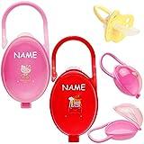alles-meine.de GmbH Schnullerbox / Dose - bis 2 Schnuller - mit Henkel - Haken - Mädchen Motiv - inkl. Name - BPA frei - Schnullerdose - Kinder Baby - Kunststoff Plastik Schnulle..