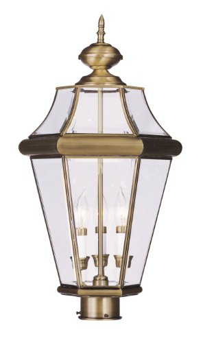 Livex Lighting 2364-01 Georgetown 3-Light Outdoor Post Head, Antique Brass