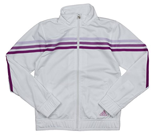 adidas Big Girls Pursuit Full Zip Striped Jacket (Medium (10/12), White)