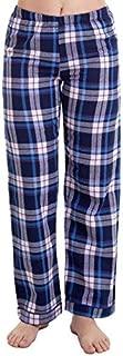Calça Avulsa Pijama Feminino Xadrez Azul Flanela 100% Algodão