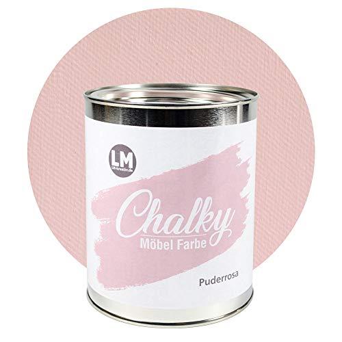 LM-Kreativ Chalky Möbelfarbe deckend 1 Liter / 1,35 kg (Puder-Rosa), matt finish In- & Outdoor Kreide-Farbe für Shabby-Chic, Vintage, Landhaus Stil