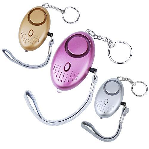 Bukm Taschenalarm, 140db Personal Alarm Schlüsselanhänger mit Taschenlampe, Panikalarm Selbstverteidigung Sirene für Kinder, Damen, Die Älteren (3 Stücke)