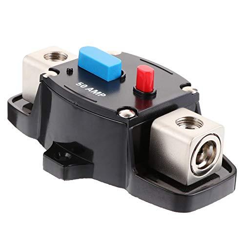 TEHAUX Interruptor de Circuito Portafusibles Estéreo Audio en Línea Inversor de Fusibles para Motor Auto Coche Barco Marino Bicicleta 50A