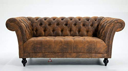 DProT Handmade Pu-Leather Chesterfield Sofa Armchair 1.5, 2 or 3 Seater Settee (1.5 Seat Sofa Brown)