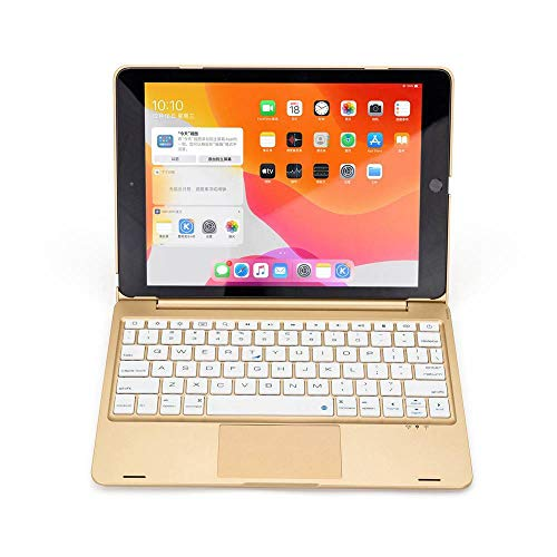 Keyboard Case For iPad Pro 10.5 2017 Tablet Smart 7 Colors RGB LED Backlit Wireless Bluetooth Touchpad Stand Cover-Gold_set