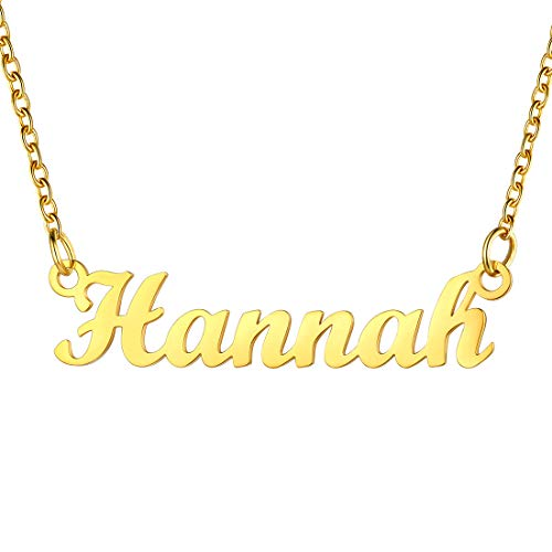 Womens Necklace Gold Hannah Name Pendant & Adjustable 45CM Rolo Chain, SCRIPT MT BLOOD Font, Present For Daughter, 18K Gold Plated Stainless Steel Nameplate Jewellery For Girls Hannah Necklace Chain