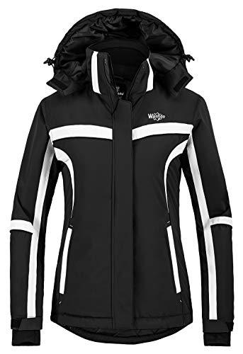Wantdo Femme Veste de Ski Outdoor Manteau d'hiver Chaud avec Capuche Amovible Veste Imperméable Coupe-Vent Veste Randonnée pour Voyage Blanc L