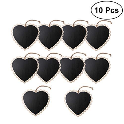 EXCEART 10 Piezas Mini Etiquetas de Pizarra en Forma de Corazón Carteles de Pizarra Colgantes de Madera Etiquetas de Pizarra Etiquetas de Regalo de Pizarra Borrable Etiquetas de Precio para Bodas