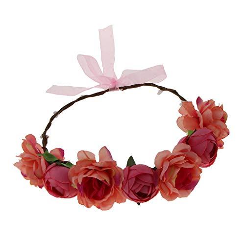 Colcolo Guirnalda Floral Romntica para El Cabello, Diadema Floral, Accesorios para El Cabello para La Fiesta de Verano - Melon Rojo, Individual