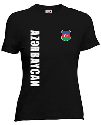 Aserbaidschan Azerbaycan Damen T-Shirt Trikot Wunschname Wunschnummer (Schwarz, L)