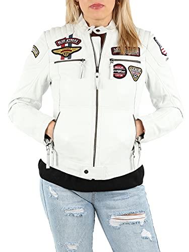 MONOMOI Lederjacke Damen, weiß, Motorradjacke Damen aus Leder mit Protektoren, Bikerjacke Damen aus Echtleder