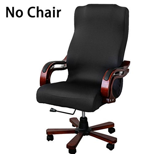 BTSKY Office Chair Covers Removable Stretch Cushion Slipcovers Stretchy for Computer Chair/High Back Chair Chair/Boss Chair/Rotating Chair/Executive Chair Cover Large Size, Black(No Chair)