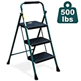 HBTower 3 Step Ladder, Folding Step Stool with Wide Anti-Slip Pedal, Sturdy Steel Ladder, Convenient Handgrip, Lightweight 500lbs Portable Steel Step Stool, Green and Black