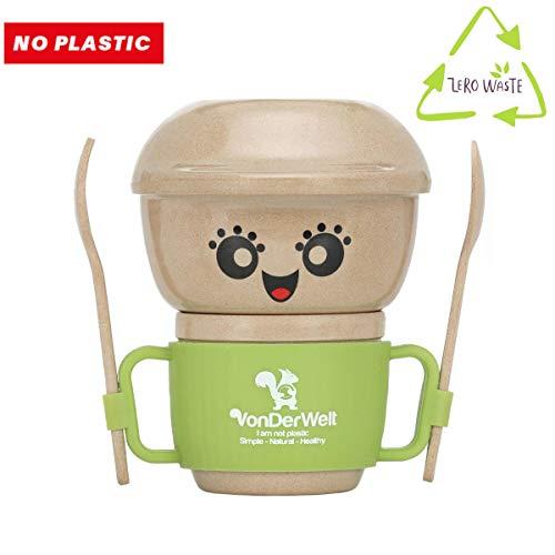 Baby Geschirr Kindergeschirr Baby Set ab 6 Monaten - 5 Teilig besteht aus Kinderteller Schale Löffel Gabel Tasse mit Henkel, aus Reishülse ohne Plastik ohne Melamin, Stabil und TÜV getestet