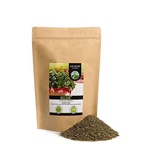 Albahaca rallada (250g), Albahaca seca, Albahaca frotada, 100% pura y natural para la preparación de mezclas de especias, Albahaca suavemente secada