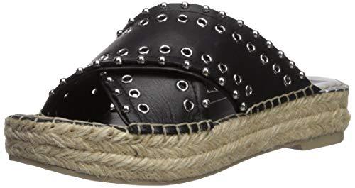 Dolce Vita Women's IVA Espadrille Wedge Sandal, Black Leather, 6 M US