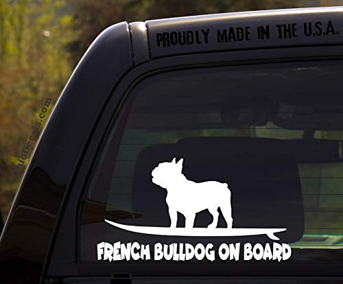 OhioDecals.com French Bulldog on Board - Funny Frenchie Dog Breed Decal Sticker for car or Truck Window