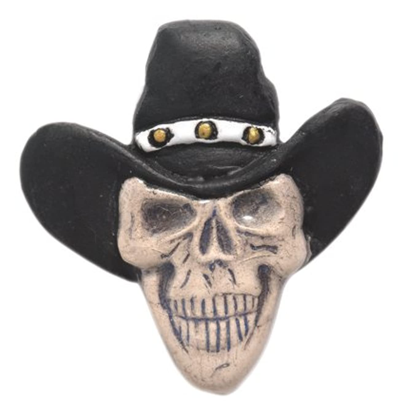 Shipwreck Beads 33 by 35mm Peruvian Hand Crafted Ceramic Skull Beads with Cowboy Hat, Black, 3 per Pack