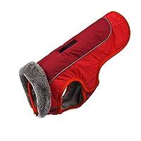 犬の冬のジャケットウールの裏地付きの防水ジャケット冬のジャケット防風暖かい屋外反射着用しやすいオフラインハーネス、中小規模の大型ペットに適しています (M,Red)