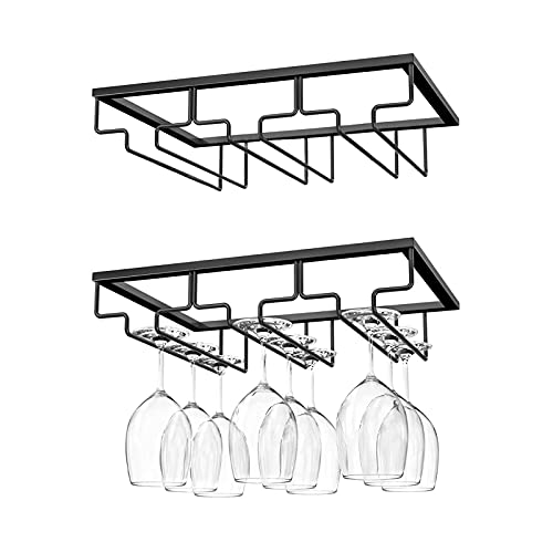 MIMA Wine Glass Rack 2 Pack Hanging Wine Glass Holder Wall Mounted Shelf Wine Cup Display Stand Metal Organizer for Bar Kitchen Cabinet (3 Rows) - Black