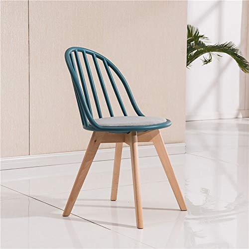 YAN JUN Solid Wood Dining Chair Adult Thick Plastic Backrest Chair Creative European Style Leisure Restaurant Coffee Chair, Linen Cushion, Simple Assembly ++ (Color : Dark green)