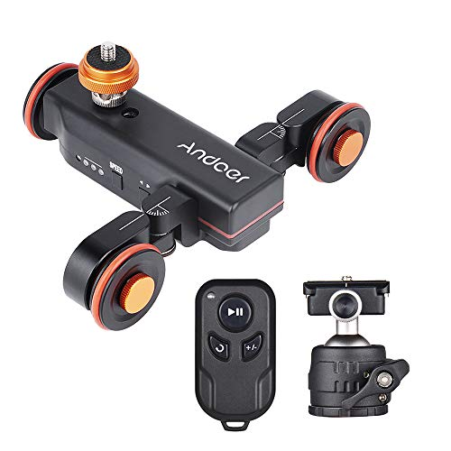 Andoer 3-Wheels Wireless Remote Control Motorized Camera Video Auto Dolly 3 Speed Adjustable with Mini Flexible Ballhead Mount Adapter for Canon Nikon Sony DSLR Camera Smartphone