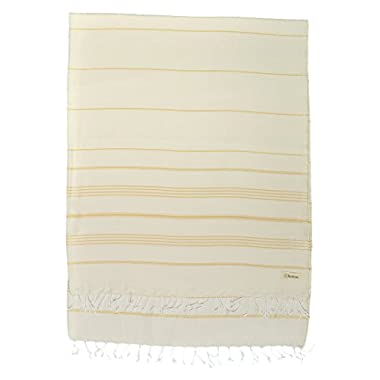 Bersuse 100% Cotton - Anatolia XL Throw Blanket Turkish Towel Pestemal - Bath Beach Fouta Peshtemal - Multipurpose Bed or Couch Throw, Table Cover or Picnic Mat - Striped - 61X82 Inches, Natural Gold