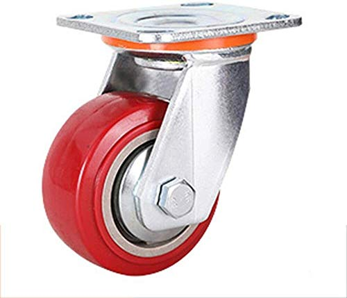 Casters 1pcs Heavy Duty Swivel Castor with Brakes Polyurethane Castor Wheels Replacement Industrial Wheels Load Capacity 400kg (Color : Swivel, Size : 5inch)