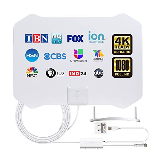 TV Antenna,ANTOP Super Thin HDTV Digital Indoor Antenna Smartpass Amplifier 360 Reception Support 4K 1080p VHF UHF Free Television Local Channels 4G LTE Fliter,10ft Longer Coax Cable