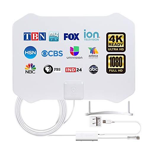Antenne TNT Intérieure avec Amplificateur, Full HDTV Aérienne avec d'Excellente Performance pour Réception DVB-T T2 TNT Numérique et Analogique TV Signaux, VHF/UHF/FM (White)