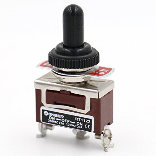 Heschen Interrupteur à bascule en métal SPDT maintenu ON/OFF/ON 3 positions 15 A 250 VAC avec capuchon étanche CE