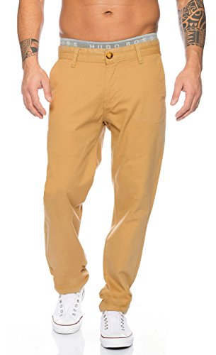 Rock Creek Herren Designer Chino Stoff Hose Chinohose Regular Fit Herrenhose Elegante Hosen Stoffhose Jeans Pants Chinohose RC-2083 Beige W34 L32