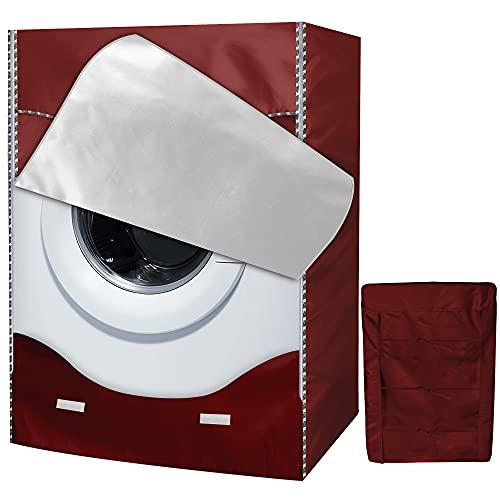 AlaSou Coprilavatrice da Esterno Copertura & Copertura Lavatrice Impermeabile per 4 coperture Laterali,Coperture Lavatire Lavatrice Copertura Taglia Larga (60×56×85cm,Rosso)