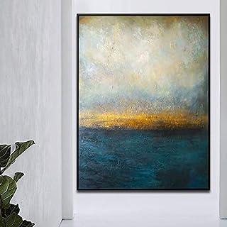 Orlco Art Original - Cuchillo de paleta de pintura a mano, color azul y verde, gran decoración, pintura al óleo abstracto sobre lienzo, azul y blanco, lona, Abstarct, 32x48inch