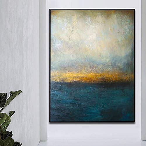 Orlco Art originele hand schilderij blauw paletmes goud en groen groot decor olie abstract schilderij op canvas blauw en wit abstract 32 x 48 inch met de uitgerekte