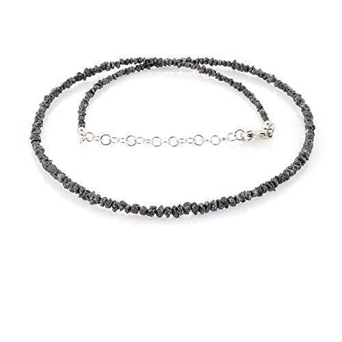 Natürliche raue schwarze Diamant-Edelstein-Halskette 925er Sterling-Silber-Rohdiamant-Perlen-Halskette Geschenk handgefertigte Diamant-Halsketten für ihre handgefertigten 47-cm-schwarzen Diamant