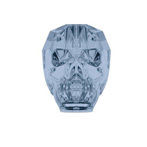 13mm, Motiv Totenkopf, mit Swarovski-Kristallen und Perlen, 1Stück, Farbe: blau denim