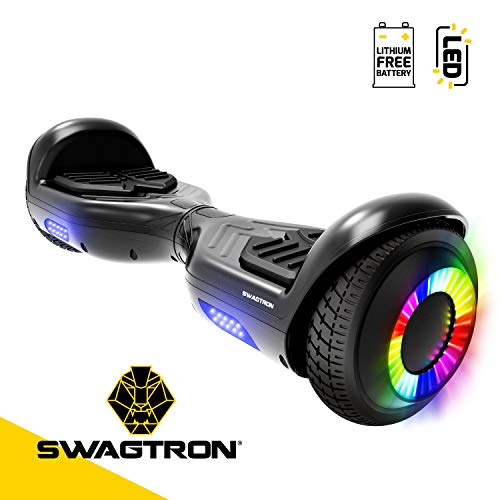 Swagboard Twist Remix Lithium-Free Kids Hoverboard with LED Wheel Lights, Black