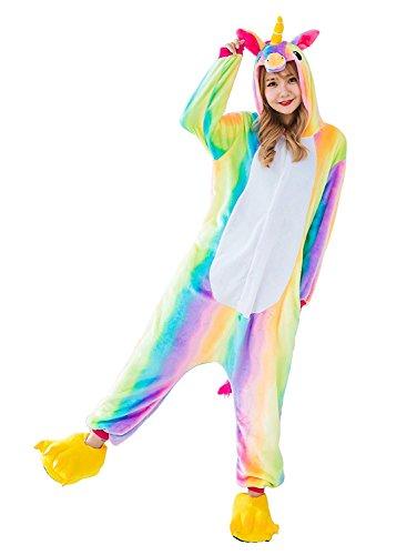 CozofLuv Einhorn Kostüm Erwachsene Tier Jumpsuits Pyjama Nachthemd Nachtwäsche Karnevalskostüme...