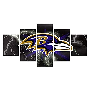 HAOSHUNDA Baltimore Ravens Logo Wall Decor Art Paintings5 Panel Canvas Print Wall Art HD Prints Sports Fan Pictures Gallery Wrapped?Framed? (12x20x2,12x28inx2,12x32inx1, Gallery Wrapped?Framed) 1