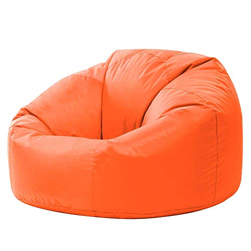 Bean Bag Bazaar Panelled Classic Bean Bag Chair, Orange - Large, 84cm x 70cm - Indoor Outdoor Water Resistant BeanBags