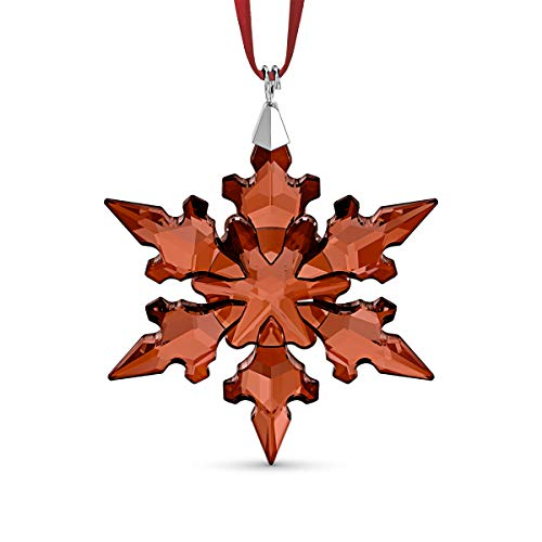 Swarovski Holiday Ornament, Sparkling Red Crystal Snowflake, Crystal Christmas Tree and Home Ornament, from the Annual Editions Collection