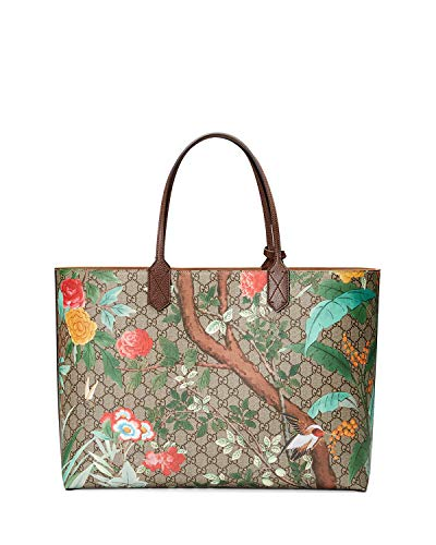 Gucci Signature Tian leather fabric Supreme Italy GUCCI Tote Bag Large Leather Trim GG Supreme Tian Canvas New