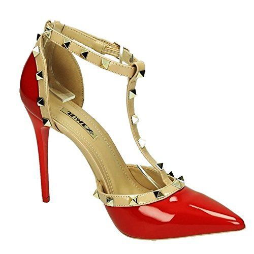 Elegante Damen Riemchen Abend Sandaletten High Heels Pumps Lack Stilettos Schuhe GH (39, Rot)