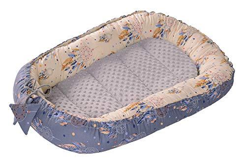 Babynest Kuschelnest Babynestchen 100% Baumwolle Nestchen Reisebett für Babys Säuglinge Medi Partners 90x50x13cm herausnehmbarer Einsatz (Traumfänger mit grauen Minky)