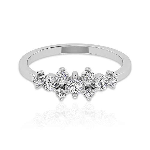 Anillo de aniversario de diamante certificado IGI de 0,47 ct, mínimo apilable, anillo de boda nupcial, anillos de promesa de cumpleaños para mujeres, 10K Oro amarillo, Size:EU 51